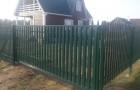 Уличные откатные ворота из металлоштакетника